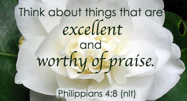 Think about things that are excellent and worthy of praise.